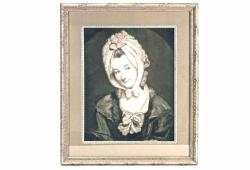 Portrait Engraving of 18th-C. Lady