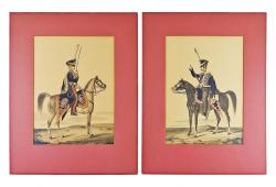 Prussian Hussar Lithographs, Pair