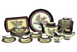 Quimper Tea Set, 35-Pcs