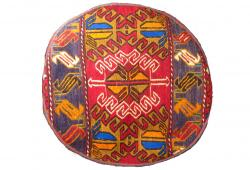 Red Tribal Dhurrie Ottoman / Pouf Cover