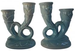Red Wing Pottery 1940s Double Candleholders, Pair
