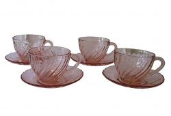 Rosaline French Glass Cups and Saucers, S/4