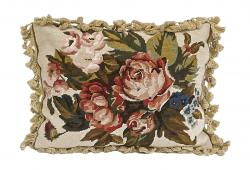Rose Needlepoint Pillow