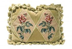 Roses Needlepoint & Velvet Pillow