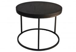 Round Black Oak Top and Cast Iron  Side Table