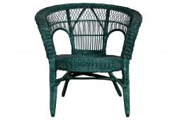 Rounded Green Wicker Occasional Chair