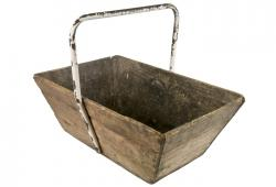 Rustic Vintage French Wood Gardening  Trug/Caddy  w/metal handle