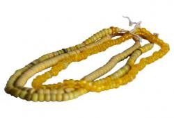 Saffron African Trade Bead Strands, S/3