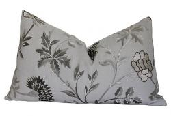 Schumacher Gray Linen Embroidered Pillow