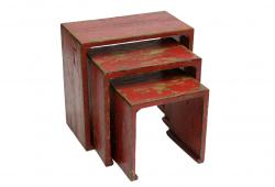 Set of 3 Tibetan Red Lacquered Tables