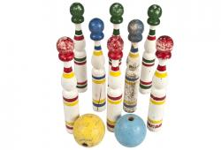Set  Of Eight Vintage French Skittles With Balls