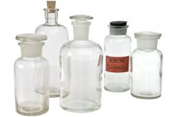 Set Of Five Clear Glass Display Bottles