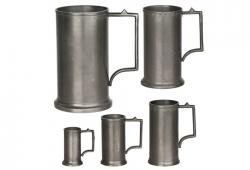 Set Of Five Vintage German Pewter Measures