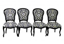 19th Century French Black and White Salon Chairs, S/4