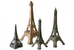 Set Of Four Vintage French Metal  Eiffel Tower Models
