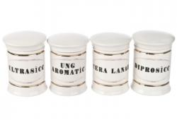 Set Of Four Vintage Inspired Porcelain Apothecary Jars