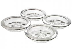 Set Of Four Vintage Sterling Silver And Glass Coasters