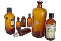 Set Of Seven Vintage Amber Apothecary Bottles