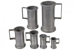 Set Of Six  Vintage French Pewter Measures