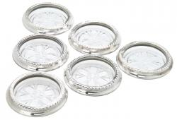 Set Of Six Vintage Sterling Silver And Glass Coasters