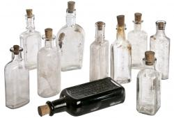 Set of Ten Vintage Clear Glass Bottles