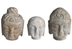 Hand carved Stone Buddha Heads, Set 3