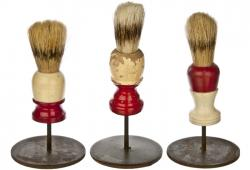 Set of Three Vintage Shaving Brushes Mounted on Stands