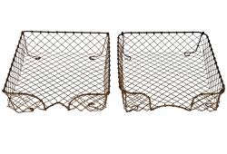 Set of Two Vintage French Wire Letter Trays