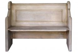 Shabby Gray Paint Church Bench