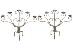 Silver Gilt Metal Candleholders C. 1900's, Pair