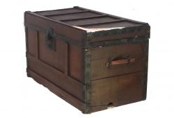 Small Pine Antique Travel Trunk