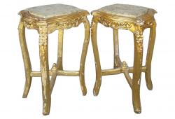 Striking Pair of 19th Century Louis XVI Gold Gilded Side Tables