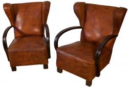 Superb French Pair of  Classic Royère Wingback Art Deco Leather Club  Chairs