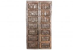 Superb Set of Doors in Solid Teak with Carved Animals