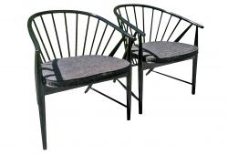 Swedish Ebonized Beech Wood Spindles Chairs, Pair