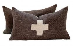 Swiss Army Wool Blanket Pillows, Pair