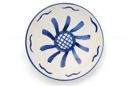 Italian Tagliato Pasta Bowl, cobalt and white