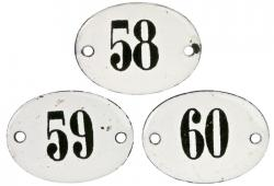 Three French Enamel Hotel Room Numbers 58, 59, 60