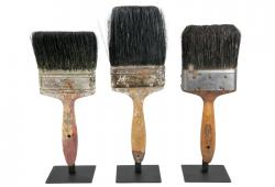 Three Vintage Paint Brushes On Iron Stands