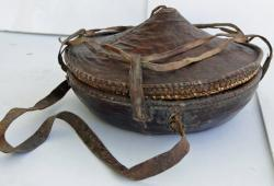 Tribal Leather & Grass Lunch Basket