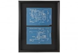 Two Framed 1918 Mechanical Blueprint Drawings