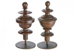 Two Vintage French Wood Finials On Iron Stands