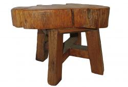 An Unusual, Cut Log, Milking Stool
