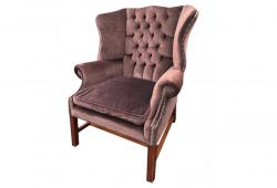 Velvet Tufted English Wingback Chair