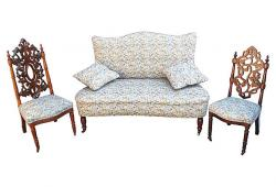 Victorian Settee with Two Side Chairs