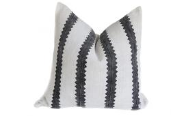 Vintage African Black & White Striped Pillow