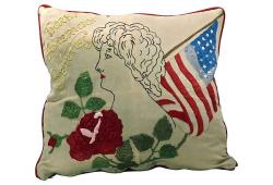 Vintage American Beauty Needlework Pillow