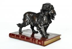 Vintage Bronze Dog Library Sculpture Decorative Piece