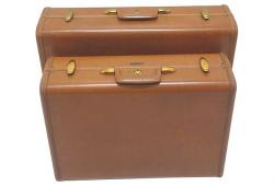 Vintage  Caramel Colored Suitcases, Pair