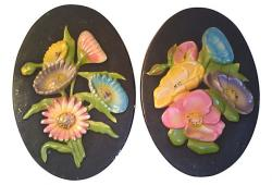 Vintage Chalk Ware Oval Floral Wall Hangings, Pair